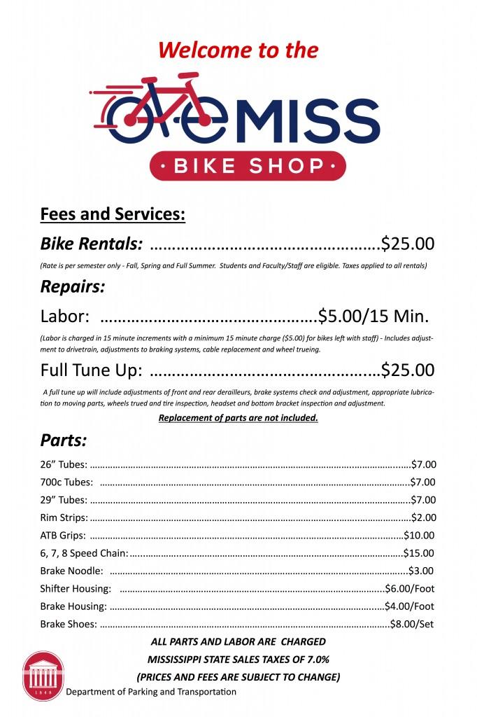 bike shop fees